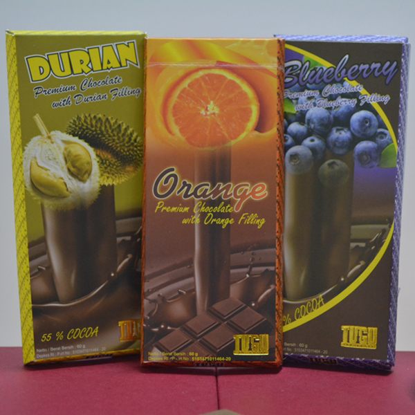 Chocolate Tugu paket 60gr  (Isi 3 pcs : Orange, Blueberry,Durian)
