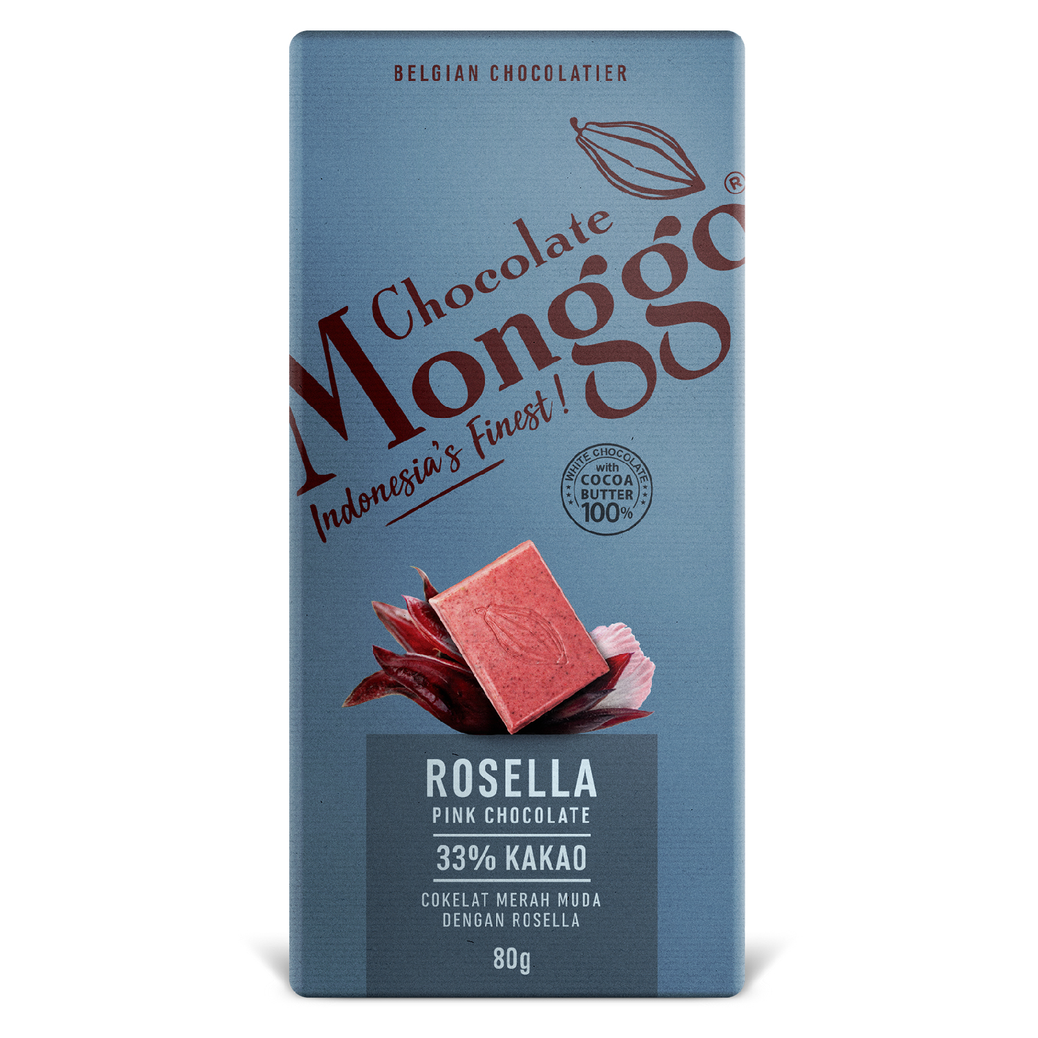 PINK CHOCOLATE TABLET WITH ROSELLA
