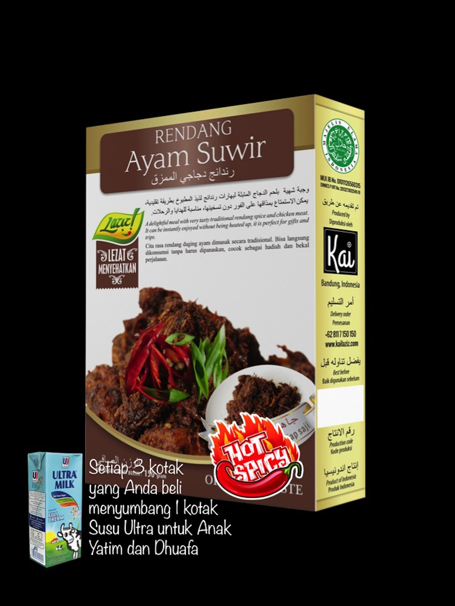 RENDANG AYAM SUWIR HOT SPICY KAI FOOD 150GR