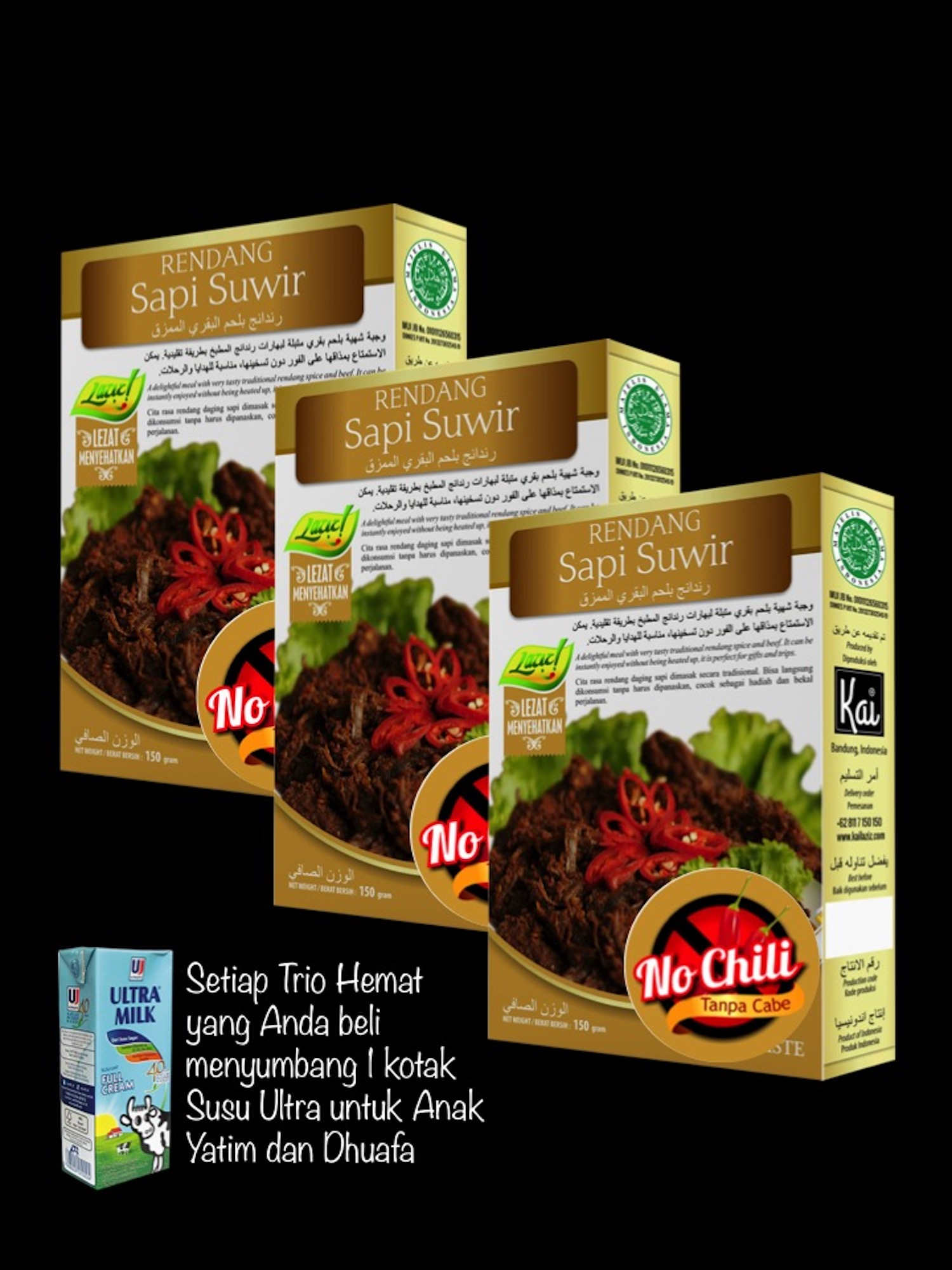 KID MEALS 3 RENDANG SAPI SUWIR NO CHILI KAI FOOD 450GR