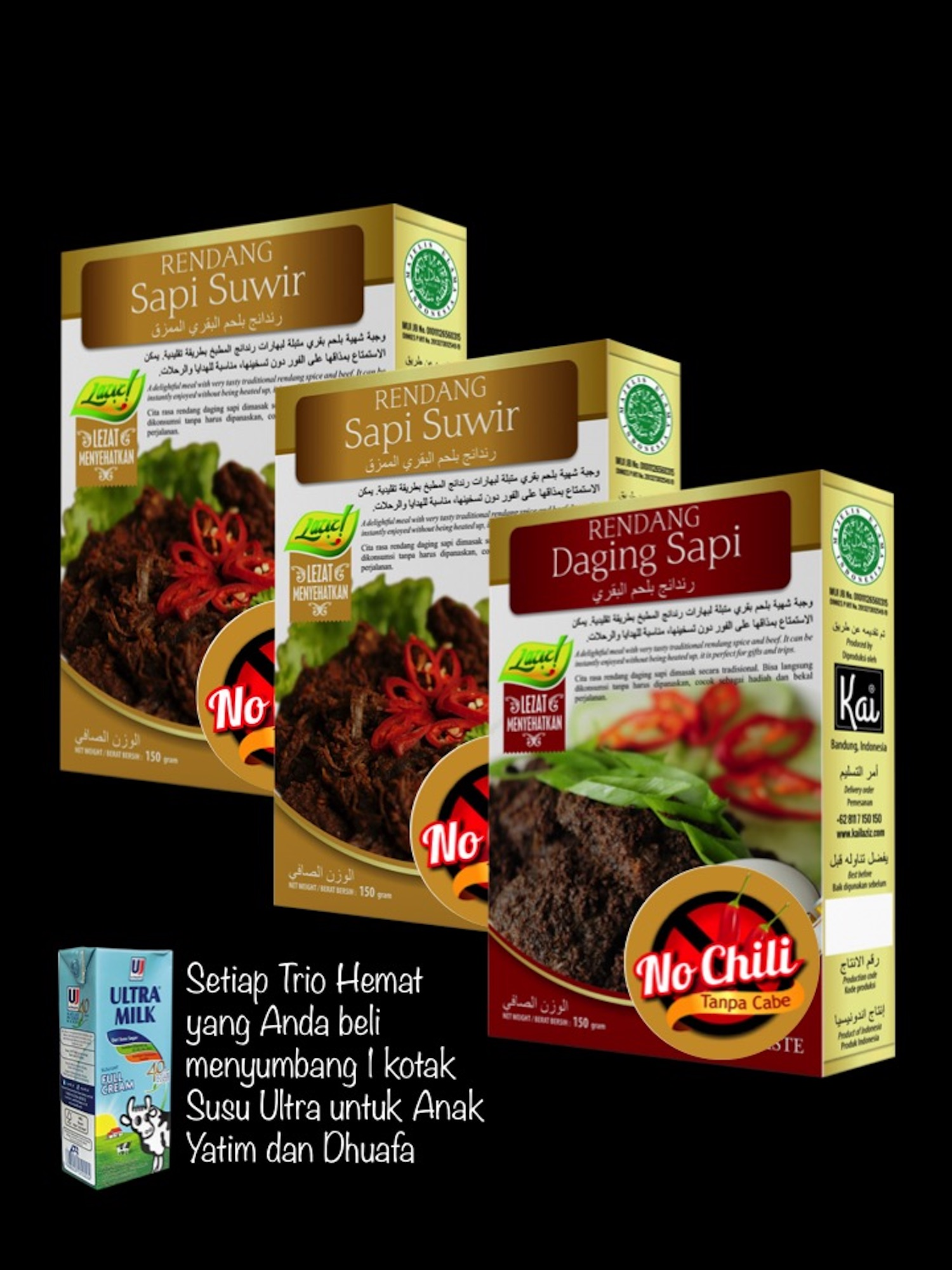 KID MEALS 2 RENDANG SAPI SUWIR NO CHILI 1 RENDANG DAGING SAPI NO CHILI KAI FOOD 450GR