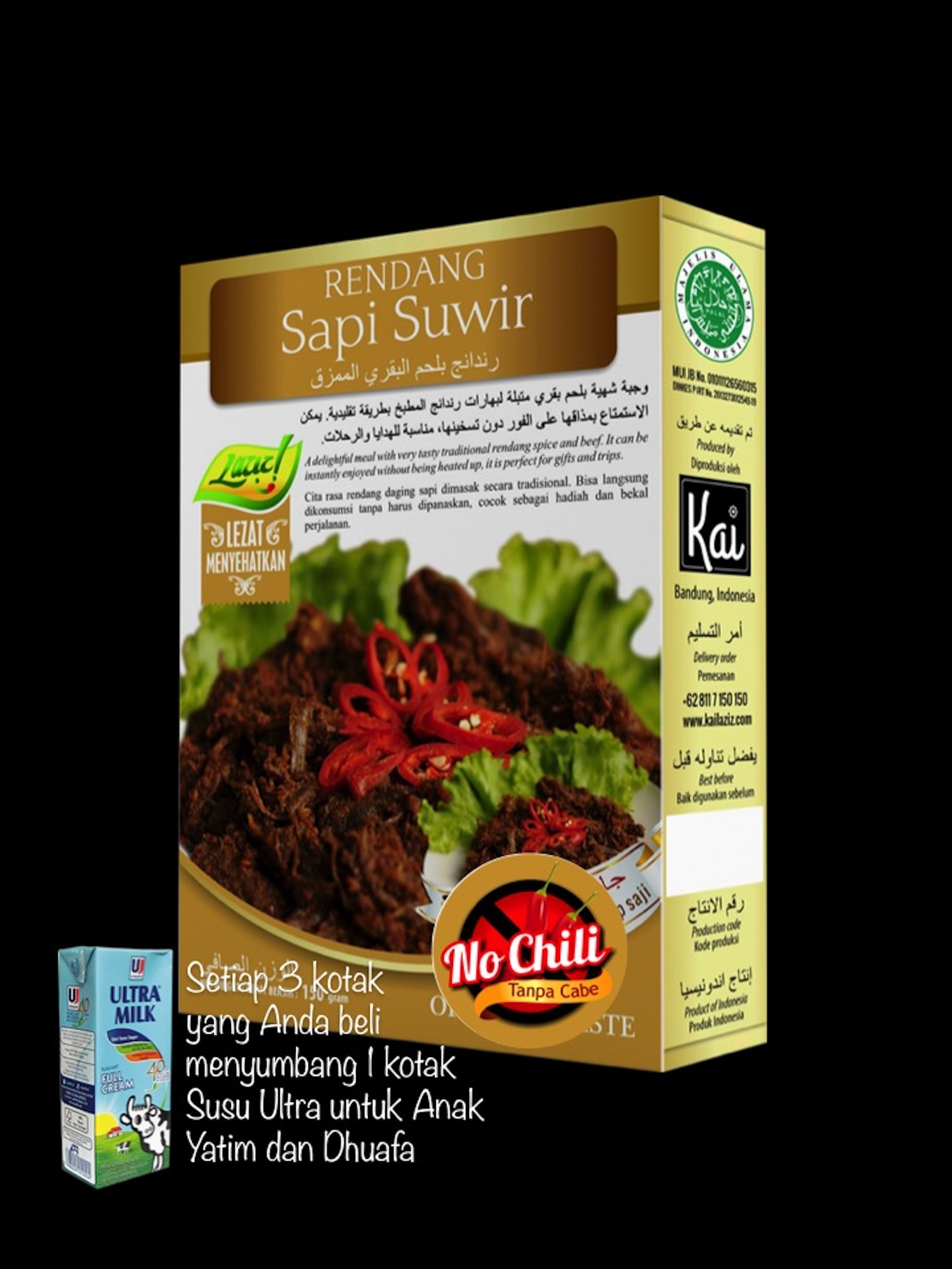 RENDANG SAPI SUWIR NO CHILI KAI FOOD 150GR